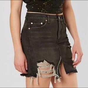 Free People Relaxed & Destroyed Black Denim Mini